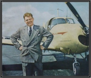 Arthur Godfrey poses with a Navion in 1950.